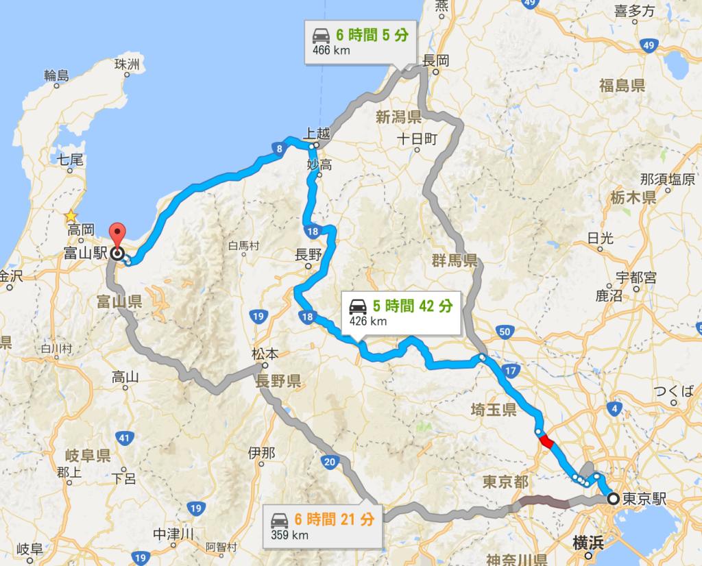 富山への自動車のルート