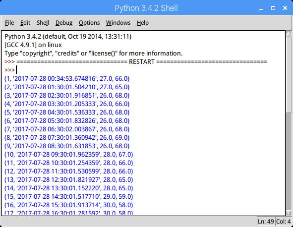 SQLiteの保存結果