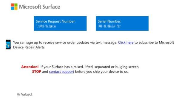 Microsoftから英語メール送付