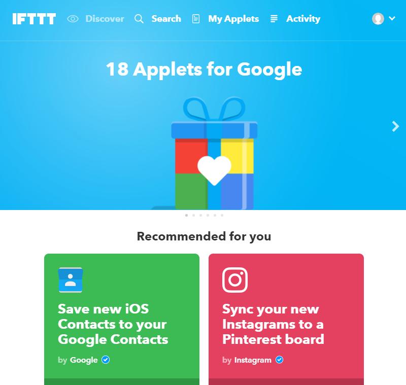 IFTTTのログイン後画面