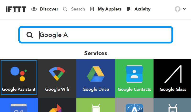 IFTTTとのGoogle Assistantサービスの連携