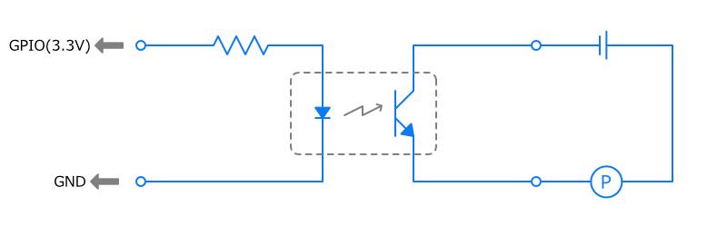 フォトカプラでポンプの動作を制御する回路