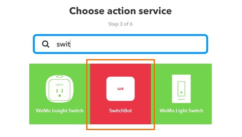 アクションにはSwitchbotを指定します。