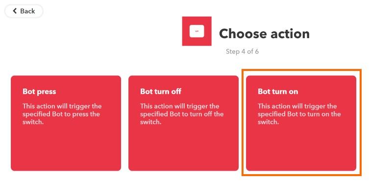 アクションはスイッチボットの動作に対応