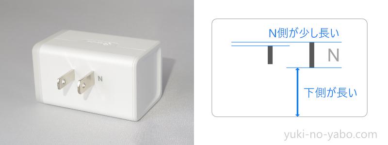 TP-Linkスマートプラグのコンセントの形状