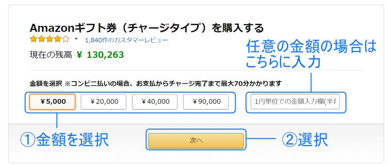 Amazonチャージの金額を選ぶ