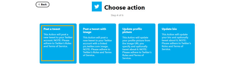 Twitterのアクションを選択する